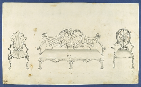 Two Garden Chairs and Long Seat, in Chippendale Drawings, Vol. I
