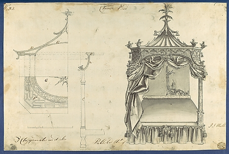 Chinese Bed, in Chippendale Drawings, Vol. I