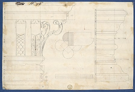 Moldings and Plan for Column on Door of Library Bookcase, from Chippendale Drawings, Vol. II