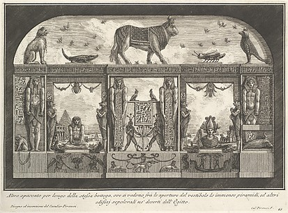 Egyptian decoration of the Caffè degli Inglesi: Animals on the cornice, incliding a bull at the center, from Diverse Maniere d'adornare i cammini... (Diverse Ways of ornamenting chimneypieces...)