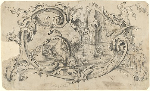 Design for a Tablet for a Chimney-Piece with Two Swans in Combat, Enclosed within a Scrolling Cartouche with a Water-Spouting Dragon's Head