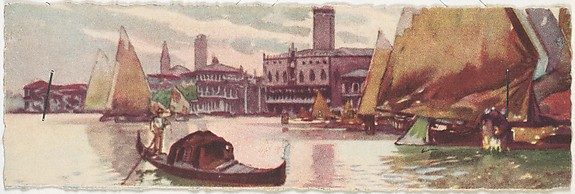 Venice, Approach to Doges Palace with Sailboats and Gondola
