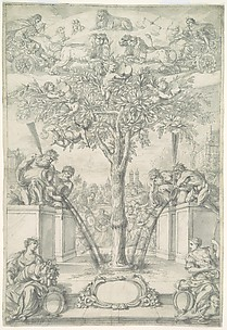 An Allegory of the Union of the House of Orange and the Wittelsbach Family (Design for a Title Page of a Thesis)