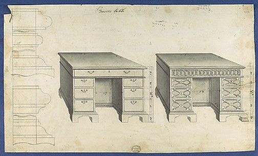 Bureau Tables, from Chippendale Drawings, Vol. II