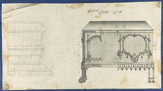 Gothic Clothes Chest, from Chippendale Drawings, Vol. II