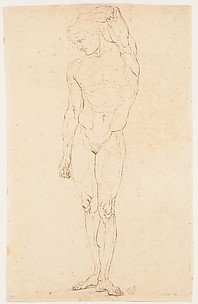 Nude Man Standing with One Arm Raised