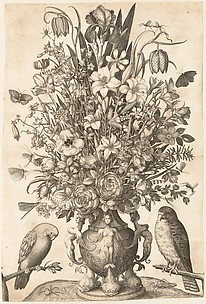 Vase of Flowers with Two Birds