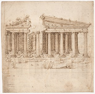 Recto: Front Elevation of a Roman Temple in Ruins (inspired by Giuliano da Sangallo); Verso: Elevation of the Nave of a Roman Basilica in Ruins (? the Basilica Giulia, inspired by Giuliano da Sangallo).