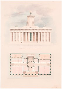 Design for a University (entrance facade and plan)