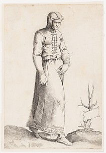 Costume Plate: Woman with Hooded Garment