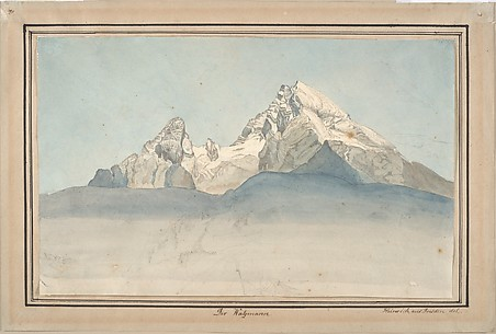 The Watzmann seen from the North-East, and Some Sketches of a Mountain; verso: Sketch of the Church of Sankt Bartholomä at the Königsee at the foot of the Watzmann Seen from the East