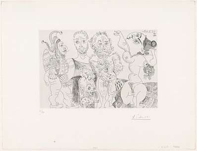 A Buffoon and Dwarf, Roman and Old Man before a Dancing Odalisque, from 347 Suite