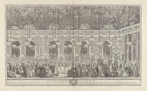 Decoration for a Masked Ball at Versailles, on the Occasion of the Marriage of Louis, Dauphin of France, and Maria Theresa, Infanta of Spain (Bal masqu donn par le roi, dans la grande galerie de Versailles, pour le mariage de Dauphin, 1745)