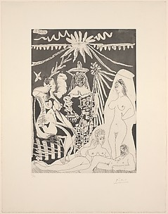 An Elongated Man with Two Women Telling Tales of an Old Clown and a Young Girl, from 347 Suite