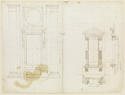 San Lorenzo, Library, Ricetto, upper window, elevation; niche,elevation, plan, and section (recto) San Lorenzo, Library, Ricetto, niche, details; upper window, details, elevation (verso)
