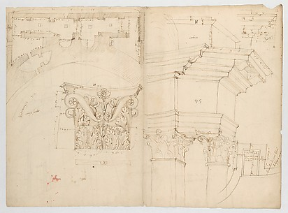 Pantheon, perspective elevation, partial plans, Corinthian pilaster capital and alcove details (recto) Pantheon, perspective sections, alcove elevations, partial plans (verso)