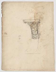 S. Maria in Trastevere, Ionic capital, side elevation (recto); Unidentified, Ionic capital volute, construction diagram (verso)
