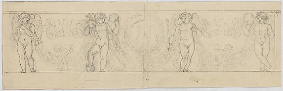 Design for a Frieze with Putti Supporting a Garland, with an