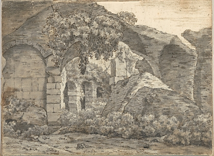 Roman Ruins (recto); Three Figures in Classical Robes (verso) (Smaller Italian Sketchbook, leaf 1)