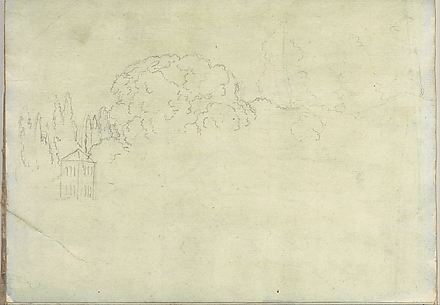 Landscape with Trees and a Tower (Smaller Italian Sketchbook, leaf 15 recto)
