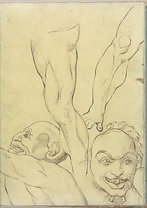 Two Demons and Two Legs, probably after Michelangelo (Smaller Italian Sketchbook, leaf 16 recto)