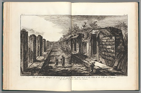 View opposite the entrance gate of all of the shops to the right and left of the street of the City of Pompeii,  from Antiquités de Pompeïa, tome premier, Antiquités de la Grande Grèce... (Antiquities of Pompeii, volume one, Antiquities of Great Greece...), volume 1, plate 13