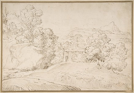 Landscape with a Pedimented Temple and Two Figures