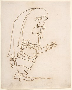 Caricature of a Man Pointing