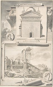 A Reconstruction of the Aurelian Temple of the Sun (above) and a View of the Ruins (below)