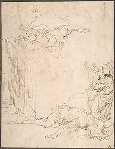 Unidentified Scene: Figures Watching a Fallen Giant and Another Figure Levitating