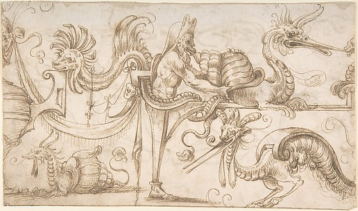 Term with Shell and Dragons (recto); Grotesque with Standing Nymph Over Cartouche with Reclining Nymph (verso)
