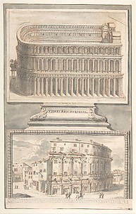 Reconstruction of the Theatre of Marcellus (above) and a View of the Ruins (below)