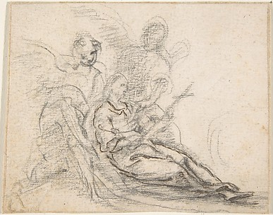 Reclining Figure of Saint Holding Cross, Supported by Two Angels