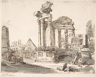 Classical Landscape with Ruins (recto); Two men in Roman military dress (verso)