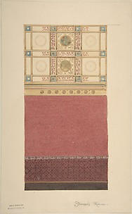 Design for Wall Elevation with Diapered Wainscoting and a Coffered Ceiling