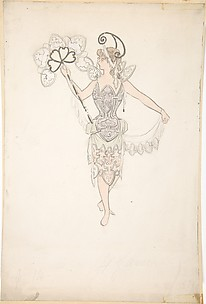 Costume design for lady with a fan