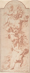 Four Putti Decorating a Herm with Garlands of Fruit and Foliage