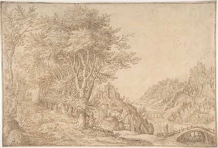 Wooded Landscape with a River, Castle, and Town Beyond