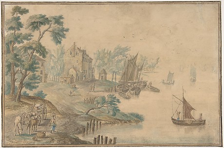 Landscape with Horses and Carts and a River at Right