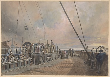 Deck of Great Eastern, aft, the paying out machinery