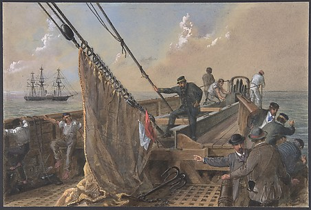 Forward deck of the Great Eastern cleared for the first attempt to grapple for the lost cable, August 11th, 1865