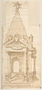 Drawing of a Catafalque for Philip II of Spain, 1598