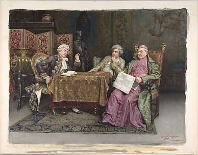 Watercolor of Priest and Two Men Seated at a Table
