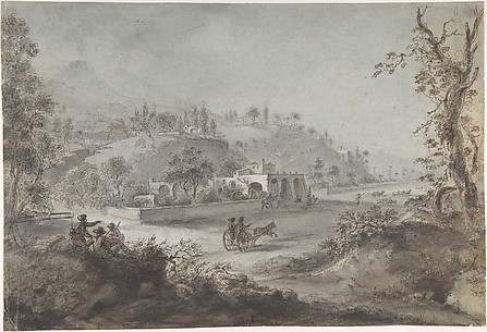 Landscape Prospect with a Buggy and a Herd of Goats