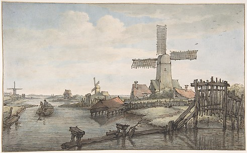 View of a Canal with Three Windmills