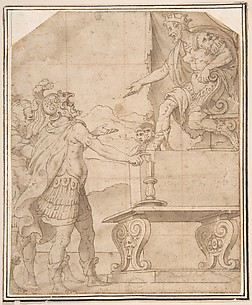 Mucius Scaevola Burning off his Hand before Porcenna