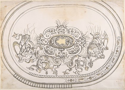 Design for a Platter with Battling Tritons and Sea Nymphs