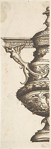 Ornament design after the antique; half-vase with Harpy and Entablature Handle