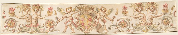 Frieze with Medici Coat of Arms and Putti (Embroidery Design?)