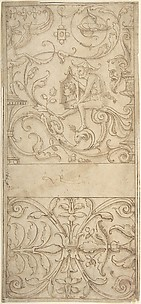 Antique-Style Ornamental Frieze Design: Grotteschi with Figures, Cornucopiae, and Shields.